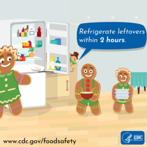 Refrigerate leftovers within 2 hrs